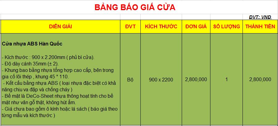 Bảng giá cánh thô cửa nhựa ABS Hàn Quốc tại Đồng Nai
