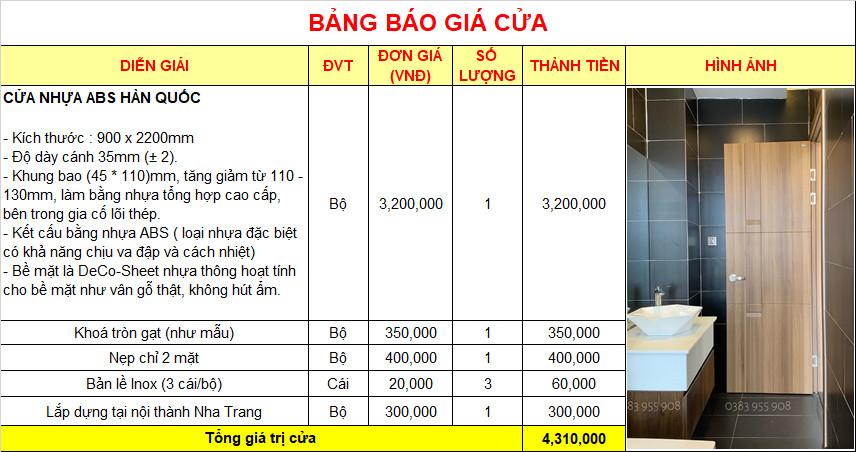 Giá cửa nhựa ABS Hàn Quốc mới nhất 2021 tại Nha Trang