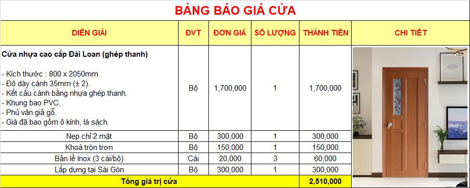 Giá cửa nhựa Đài Loan Ghép Thanh cao cấp tại TP. HCM